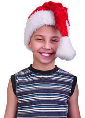 child with Santa Claus red hat