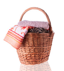 Big Wicker Basket with  Towels