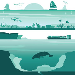 Set of Coral Reef and Deep Undersea Landscape Vectors