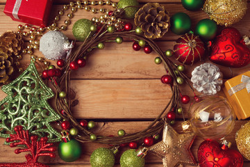 Christmas background with Christmas wreath and decorations
