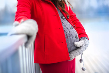 Pregnant belly in winter