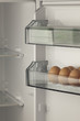 opened refrigerator full of eggs and fresh vegetables