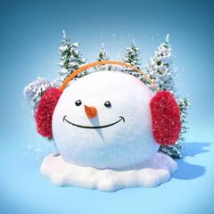 Snowman in a earmuff