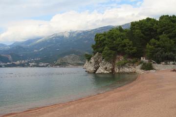Beautiful beach on the Budva Riviera. Montenegro