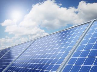 Solar panel on the desert