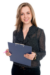 Beautiful cheerful business woman with tablet and pen for notes.