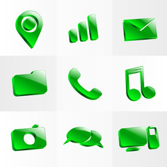 set glass icons button color symbol
