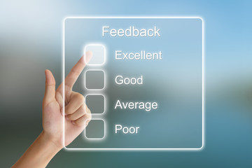 hand pushing feedback on virtual screen