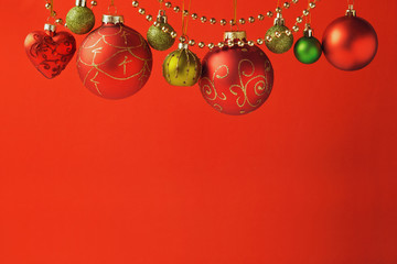 Christmas holiday red background with ornaments