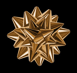 gold bows shiny ribbons, isolated on black