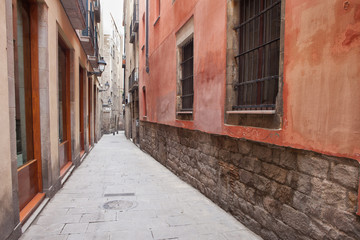Narrow Alley in Gothic Quarter of Barcelona