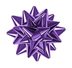 purple shiny gift bow isolated on the white