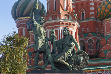 Monument to Minin and Pozharsky on Red Square in Moscow.
