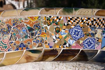 Trencadis Mosaic at Gaudi Park Guell in Barcelona