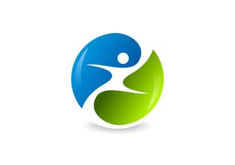 body healthy logo, abstract human sport symbol icon