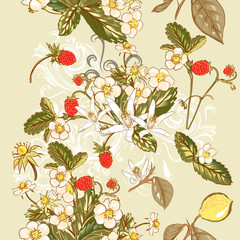 Seamless wallpaper pattern with  wild strawberry