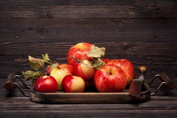 apples in wooden tray