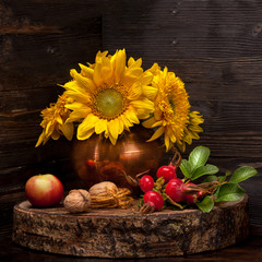 Autumn composition with flowers sunflower