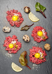 Beef tartare with egg, capers and onions
