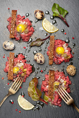 Beef tartare with egg and toast