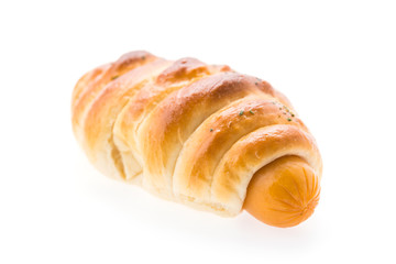 Sausage bread isolated on white