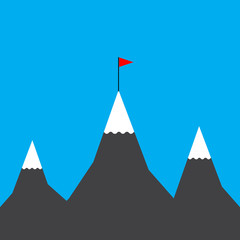 Flag on mountain. Vector Illustration