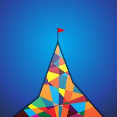 Flag on mountain. Vector Illustration