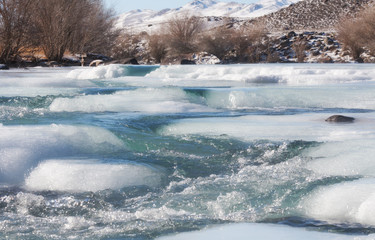 Ice on mountain river