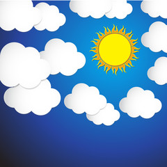 Abstract sun and cloud with blue sky background. Vector Illustra