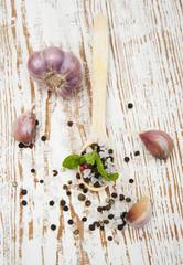 Garlic, pepper and salt