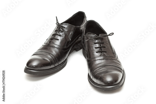 canvas print picture Men's classic shoes in black isolated on white background