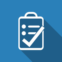 clipboard right icon with long shadow