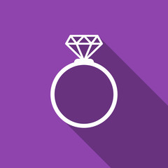 diamond ring icon with long shadow