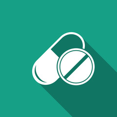 pill & capsule icon with long shadow
