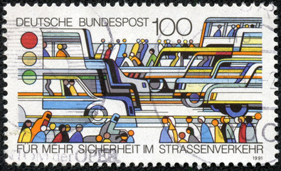 stamp printed in German shows Pedestrians and Traffic