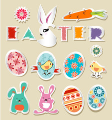 Vector stickers Easter vintage