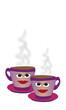 Tazas de café con caras