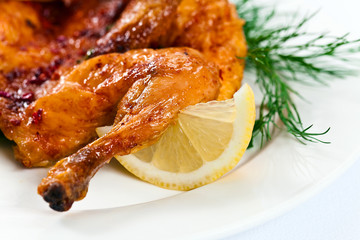 grilled  chicken with lemon and dill