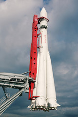 Vostok rocket at the Space pavilion, in exibition center, Moscow