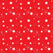 White Stars on a Red Background. Seamless Pattern. Vector Illust