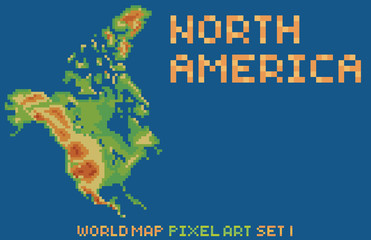 pixel art style map of north america