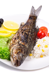 Grilled fish with vegetables and rice