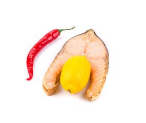 Salmon steak grilled with lemon