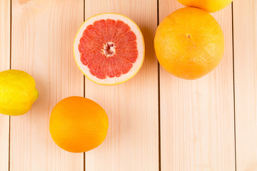 Fresh oranges lemons and grapefruit