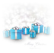 Winter background with blue christmas gifts.