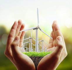 Wind turbine in the hand
