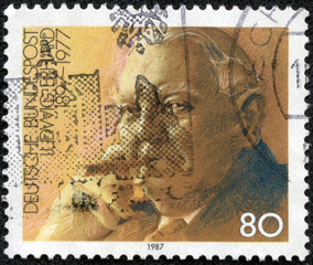 stamp printed in Germany, shows the Ludwig Erhard