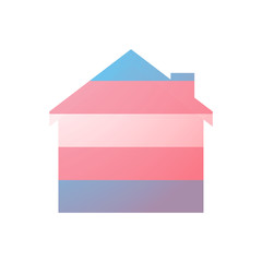 house with a transgender pride flag