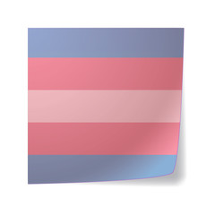 sticky note with a transgender pride flag