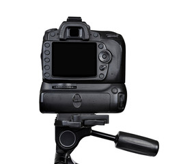 Dslr camera on a tripod isolated on white background